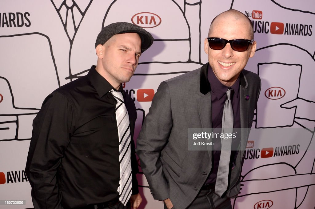 Lloyd 'EpicLLOYD' Ahlquist (L) and Peter 'Nice Peter' Shukoff of Epic Rap Battles of Histor attend the YouTube Music Awards 2013 on November 3, 2013 in New York City.