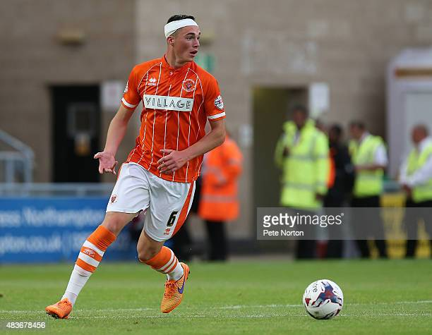 Lloyd Jones of Blackpool in action during the Capital One Cup First Round match between Northampton Town and Blackpool at Sixfields Stadium on August...