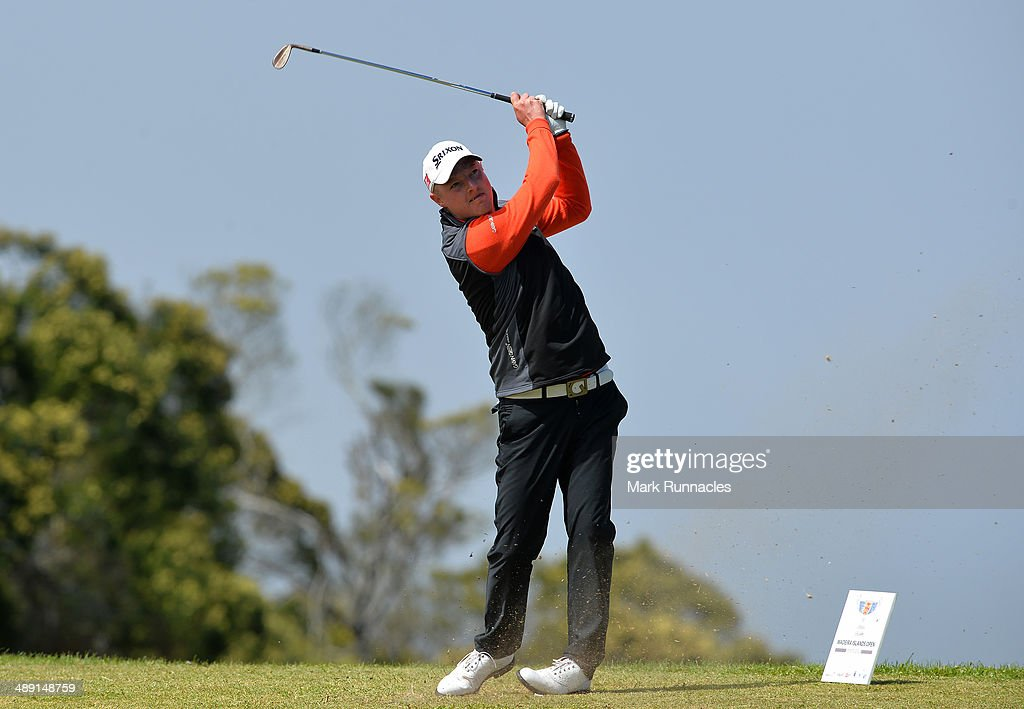 Lloyd Kennedy of England plays his tee shot at the 17th hole during the Madeira Islands Open - Portugal - BPI at Club de Golf do Santo da Serra on May 10, 2014 in Funchal, Madeira, Port gal.