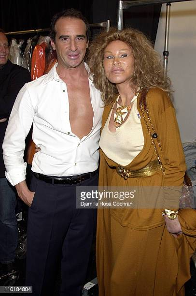 Lloyd Klein and Jocelyne Wildenstein during MercedesBenz Fashion Week Spring 2004 Lloyd Klein Front Row and Backstage at Josephine Tent Bryant Park...