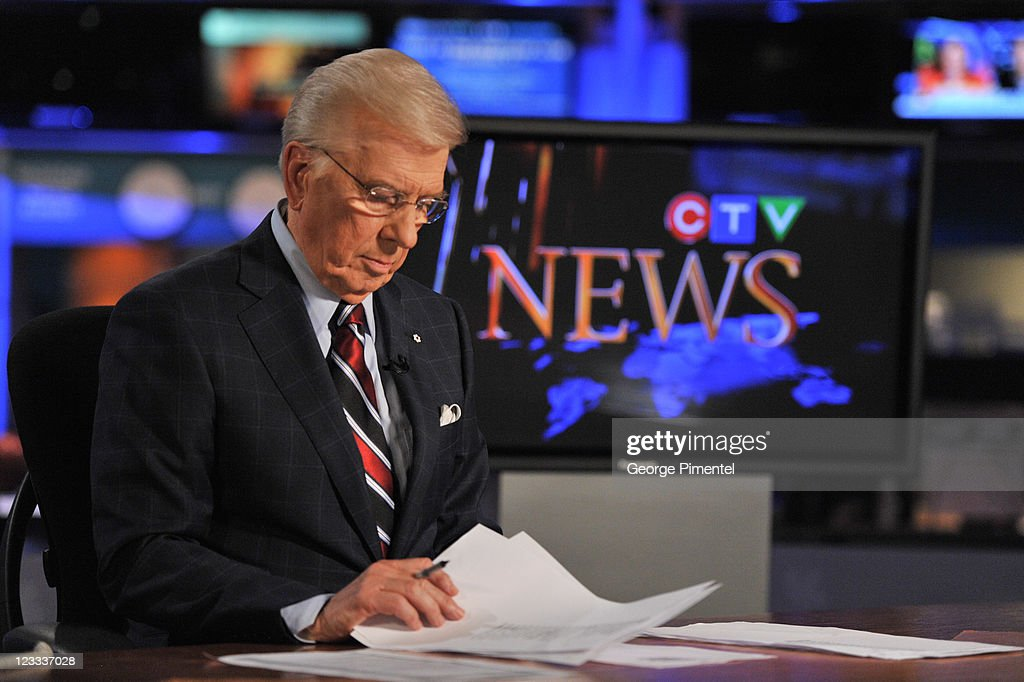 Lloyd Robertson retires from CTV News after 35 years as the national anchor and as North America's longest serving national news anchor at CTV National News HQ Building on September 1, 2011 in Toronto, Canada.