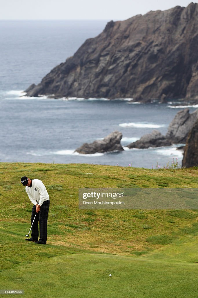 Lloyd Saltman of Scotland putts on the 13th green during day three of the Madeira Islands Open on May 21, 2011 in Porto Santo Island, Portugal.