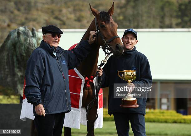 Lloyd Williams Melbourne Cup winner Almandin and Joel Flannery pose for the media at Macedon Lodge on November 2 2016 in Mount Macedon Australia