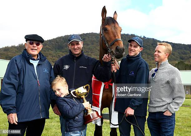 Lloyd Williams Rob Hickmott Frank Williams Melbourne Cup winner Almandin Joel Flannery and Kerrin McEvoy pose for the media at Macedon Lodge on...