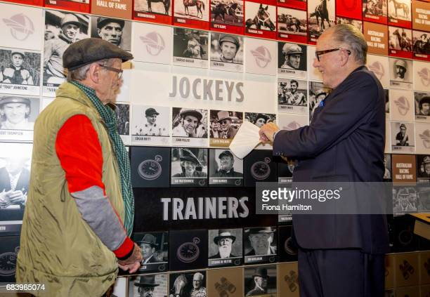 Lloyd Williams unveils his plaque with JJ Miller at National Sports Museum on May 17 2017 in Melbourne Australia
