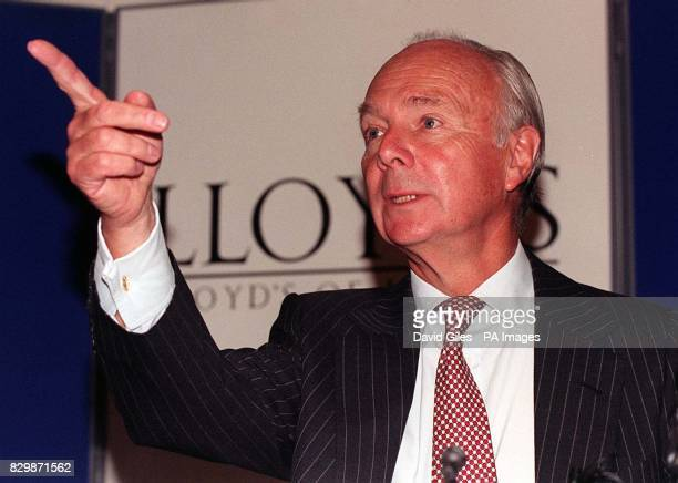 Lloyd's of London chairman David Rowland gestures during a news conference in London today where he announced its 32 billion rescue plan had been...