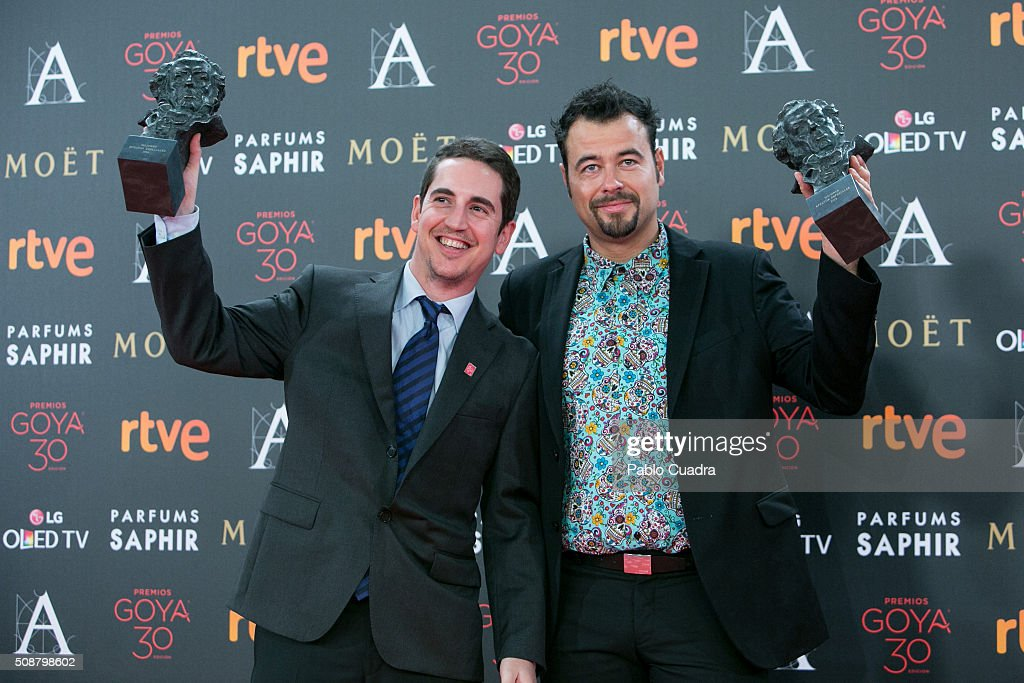 Lluis Rivera and Lluis Castells hold the award for Best Visual Effects award during the 30th edition of the Goya Cinema Awards at Madrid Marriott Auditorium on February 6, 2016 in Madrid, Spain.