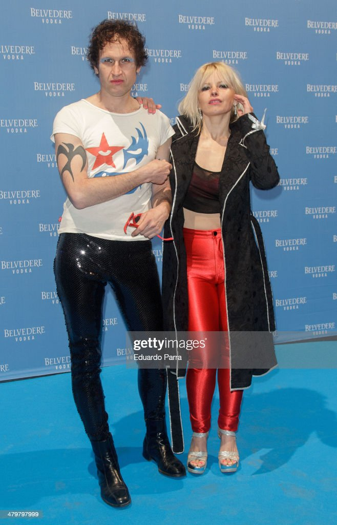 Lluvia Rojo and Kevin attend Belvedere Vodka party photocall at Principe Pio train station on March 20, 2014 in Madrid, Spain.