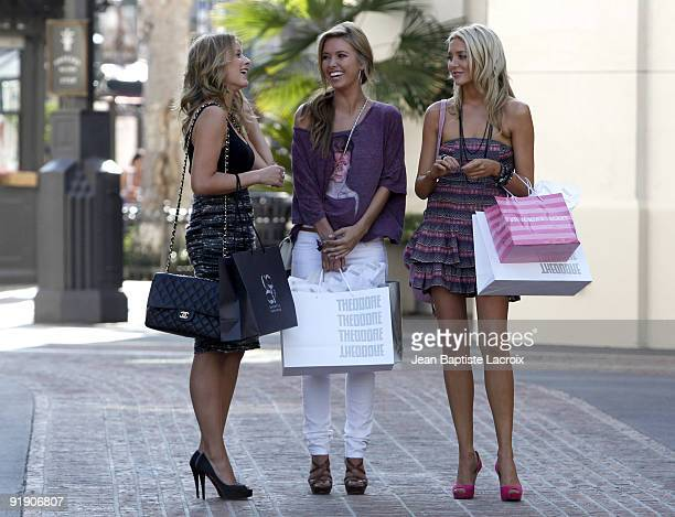 Lo Bosworth Audrina Patridge and Stephanie Pratt on location for 'The Hills' at the Grove on September 18 2009 in Los Angeles California