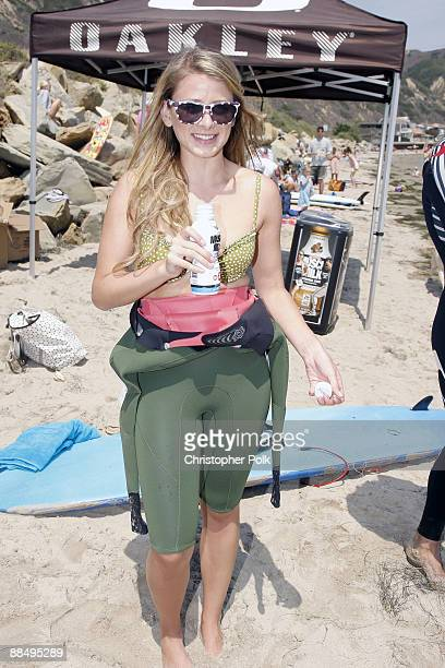 CARPINTERIA CA JUNE 13 Lo Bosworth during the Oakley Learn to Ride fueled by Muscle Milk Surf Camp at Carpinteria State Beach in Carpinteria CA on...
