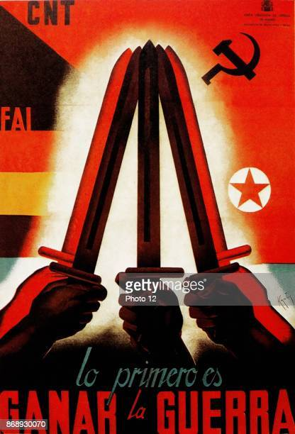 Lo Primero es Ganar la Guerra Propaganda poster from the Junta Delegada de Defensa de Madrid during the Spanish Civil War 1936