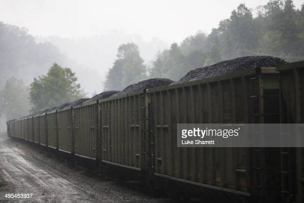 A loaded CSX Transportation coal train sits parked on a spur track at Blackhawk Mining LLC Spurlock Prep Plant on June 3 2014 in Printer Kentucky New...