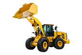 Loader or Bulldozer excavator, isolated on white background with clipping path.