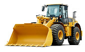 Heavy construction machine in mint condition - isolated on white with soft shadow + clipping path