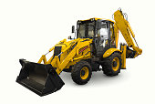A yellow earth mover isolated on a white background