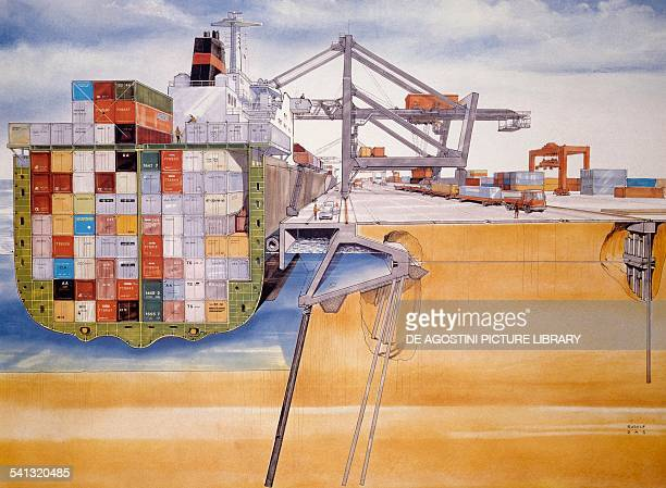 Loading and unloading of a container ship in a port equipped for intermodal transport section drawing