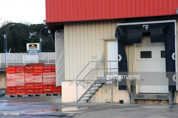 A loading dock is pictured at the headquarters of French meat supplier Spanghero in Castelnaudary southern France on February 15 2013 The president...
