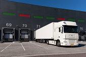 Loading bay for loading and unloading trucks