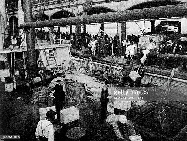 Loading food onto the ship Roosevelt Robert Edwin Peary expedition