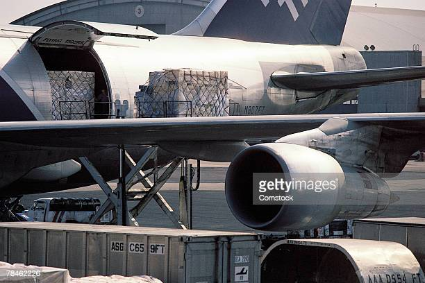 Loading freight onto airplane