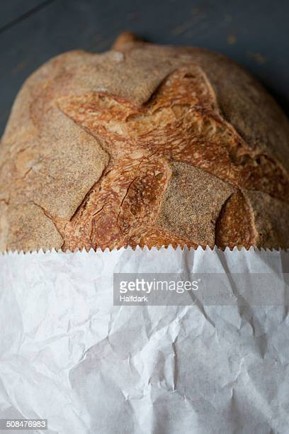 Loaf of bread in paper bag