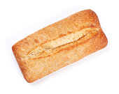 Loaf of crusty ciabatta bread. Isolated on white background. Top view