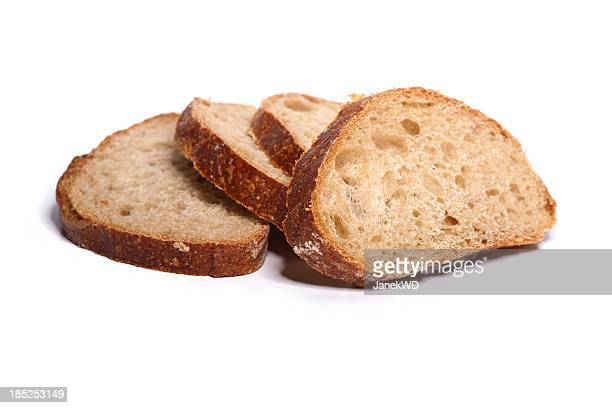 Loafs of bread on white background