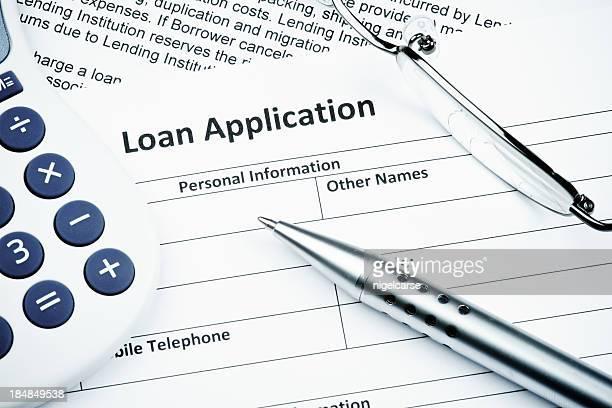 Formulaire de demande de prêt gros plan