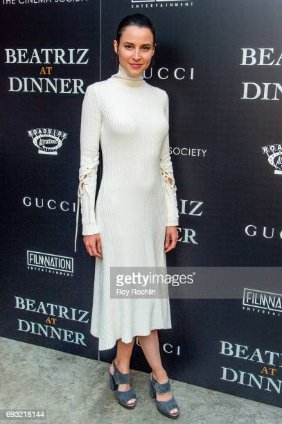 Loan Chabanol attends the Gucci The Cinema Society host a screening of roadside attractions 'Beatriz At Dinner' at Metrograph on June 6 2017 in New...