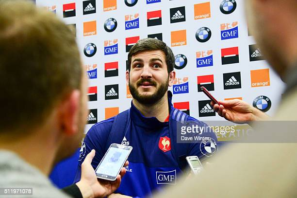 Loann GOUJON of France during the Press Conference at the French Rugby Union team at Centre national de rugby ahead of their six nations match...