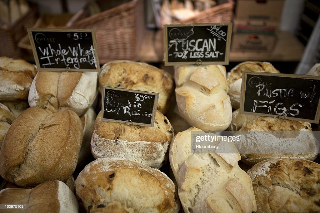 Loaves of bread are displayed for sale at an Eataly location in the Flatiron district of New York, U.S., on Wednesday, Feb. 6, 2013. Eataly is a high-end Italian food market/mall chain, owned by a partnership including Mario Batali, Lidia Bastianich and Joe Bastianich, which first opened in Turin, Italy, in 2007. Photographer: Scott Eells/Bloomberg via Getty Images