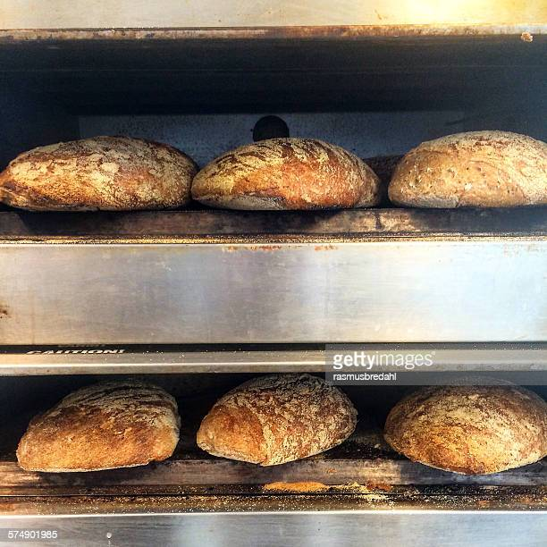 Loaves of bread baking in an oven