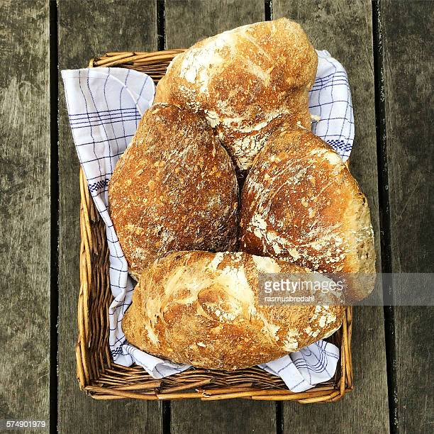 Loaves of bread in a basket