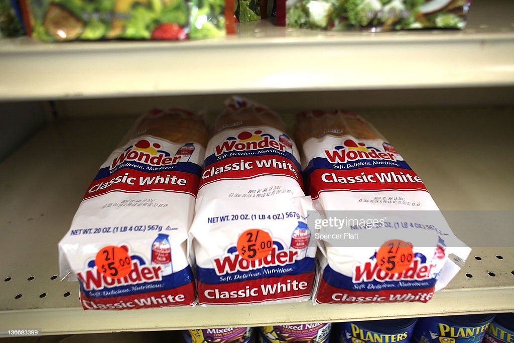 Loaves of Wonder Bread are viewed on the shelf at a grocery store on January 10, 2012 in New York City. Hostess Brands Inc., the owner of such iconic brands as Twinkies and Wonder Bread,is preparing to file for Chapter 11 bankruptcy protection as soon as this week. The privately held Irving, Texas, company currently employs roughly 19,000 people and carries more than $860 million in debt. The company has been experiencing high labor costs and rising prices for sugar, flour and other ingredients.