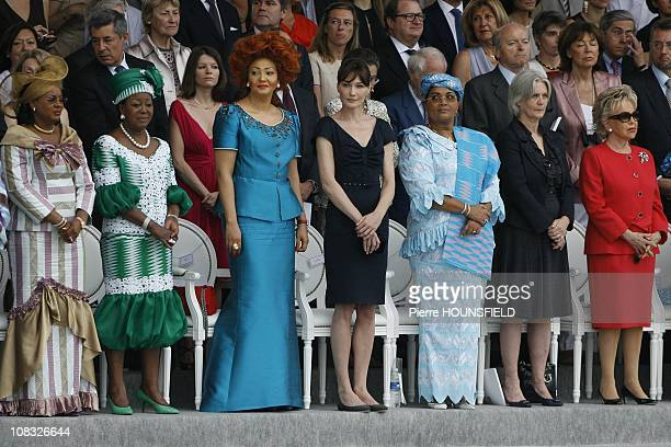 Lobbo Traore Toure Antoinette Sassou Nguesso Chantal Biya Carla Sarkozy Chantal Compaore Penelope Fillon Viviane Wade in Paris France on July 14th...