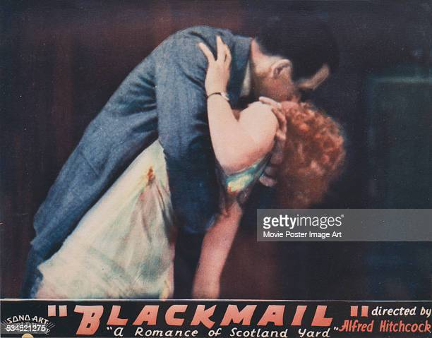 A US lobby card for Alfred Hitchcock's 1929 thriller 'Blackmail' featuring Anny Ondra and Cyril Ritchard