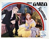 A lobby card for Clarence Brown's 1930 drama 'Romance' featuring Greta Garbo as Rita Cavallini and Lewis Stone as Cornelius Van Tuyl