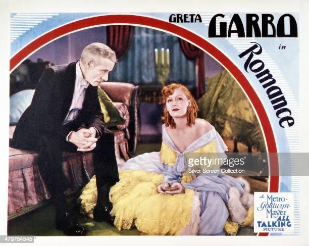 A lobby card for Clarence Brown's 1930 drama 'Romance' featuring Greta Garbo as Rita Cavallini and Lewis Stone as Cornelius Van Tuyl
