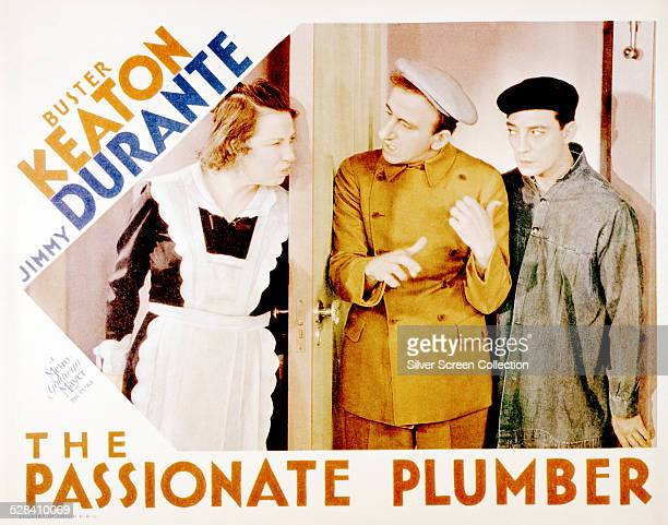 A lobby card for Edward Sedgwick's 1932 comedy 'The Passionate Plumber' starring Polly Moran Jimmy Durante and Buster Keaton