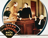 A lobby card for George Fitzmaurice's 1931 spy drama 'Mata Hari' starring Greta Garbo