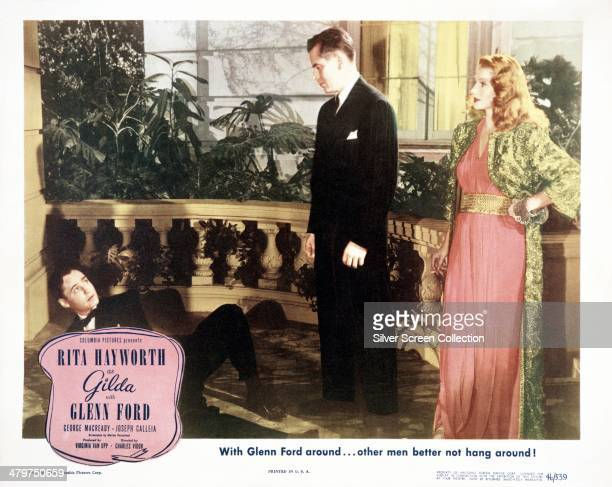 A lobby card for 'Gilda' directed by Charles Vidor and starring Glenn Ford and Rita Hayworth 1946