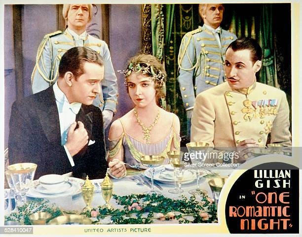 A lobby card for Paul L Stein's 1930 film 'One Romantic Night' starring Conrad Nagel Lillian Gish and Rod La Rocque
