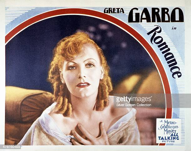 A lobby card for 'Romance' directed by Clarence Brown and starring Greta Garbo 1930