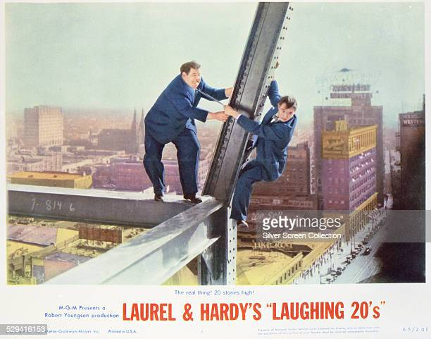A lobby card for the 1965 comedy compilation 'Laurel Hardy's Laughing Twenties' starring Stan Laurel and Oliver Hardy The still is from the 1929...