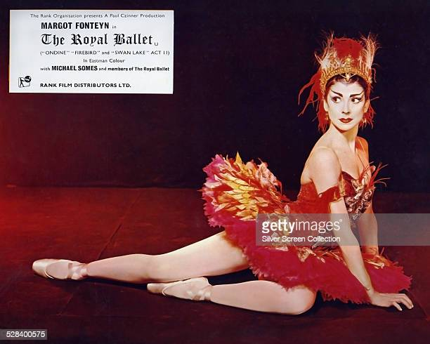 A lobby card for 'The Royal Ballet' featuring English ballerina Margot Fonteyn as the Firebird 1960 The film is directed by Paul Czinner and costars...