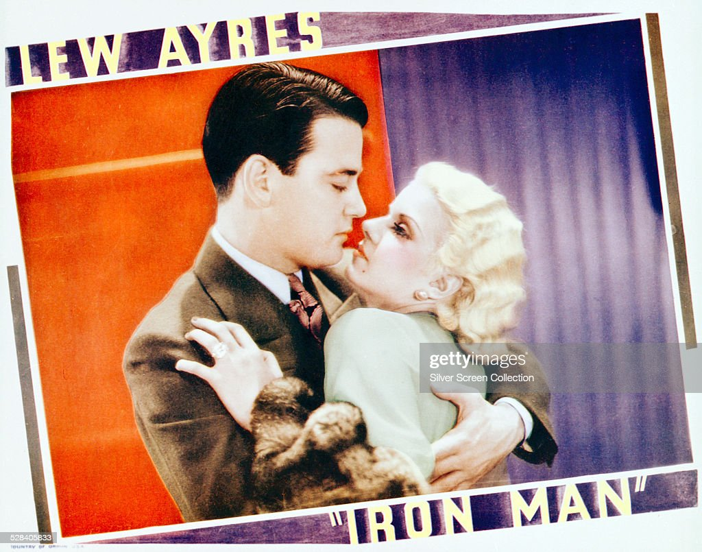 A lobby card for Tod Browning's 1931 sporting drama 'Iron Man' starring Lew Ayres and Jean Harlow