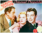 A lobby card for WS Van Dyke's 1937 romantic comedy 'Personal Property' starring Reginald Owen Jean Harlow and Robert Taylor