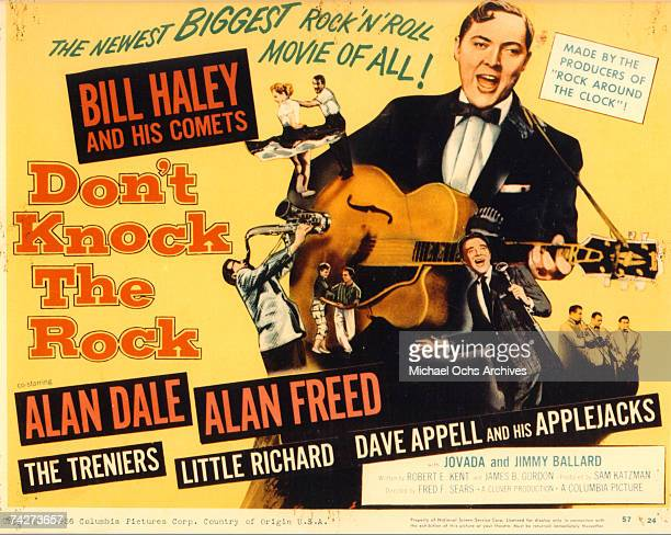 A lobby card showing Bill Haley and His Comets in the Columbia Pictures film 'Don't Knock the Rock' in 1956 in Los Angeles California