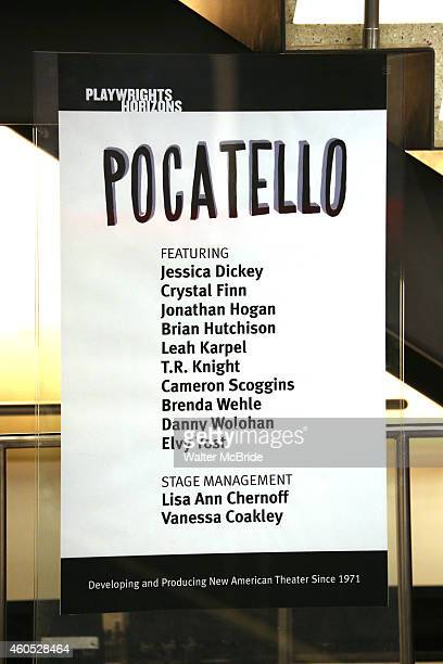 Lobby cast board for the Opening Night of 'Pocatello' at Playwrights Horizons on December 15 2014 in New York City