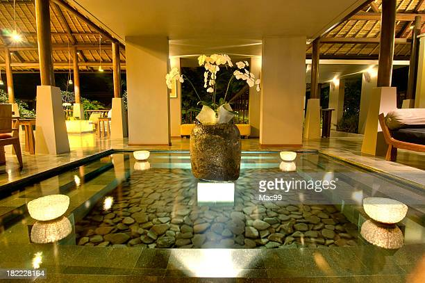 Lobby fountain in luxury hotel in Bali